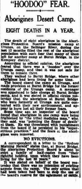 The Sydney Morning Herald Tuesday 29 June 1937, page 11 aborigine deaths