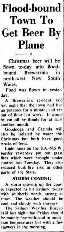 BEER FLOODSW The Sydney Morning Herald (NSW  1842-1954), Thursday 21 December 1950
