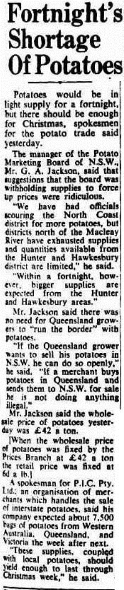 spuds The Sydney Morning Herald (NSW 1842-1954), Thursday 4 December 1952,